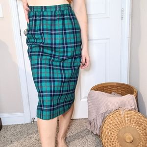 Pendleton Vintage Wool Green Plaid Skirt
